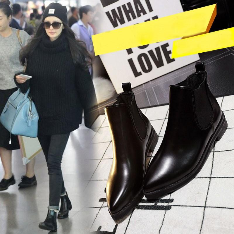 FA0022 新品 真皮短靴女平底中粗跟尖頭馬丁靴英倫女靴裸靴英倫風 單靴