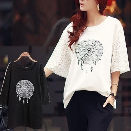 韓伊中大 顯瘦版型蕾絲袖子 棉質上衣XL 3L