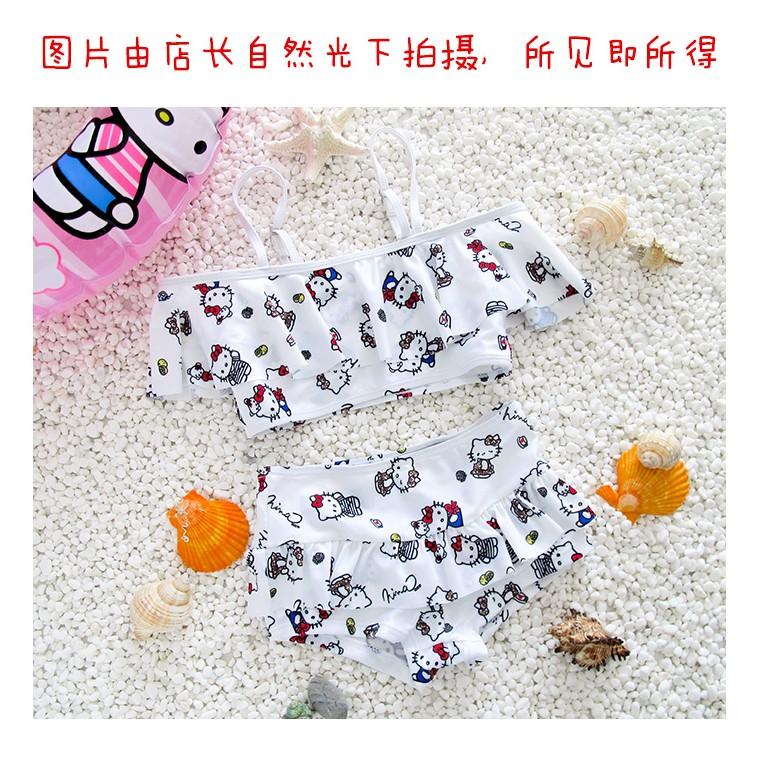 ~ !白色荷葉裙分體款S 1 、M 碼1 ~ 溫泉 韓國兒童泳衣分體款女童女孩泳裝嬰兒寶寶