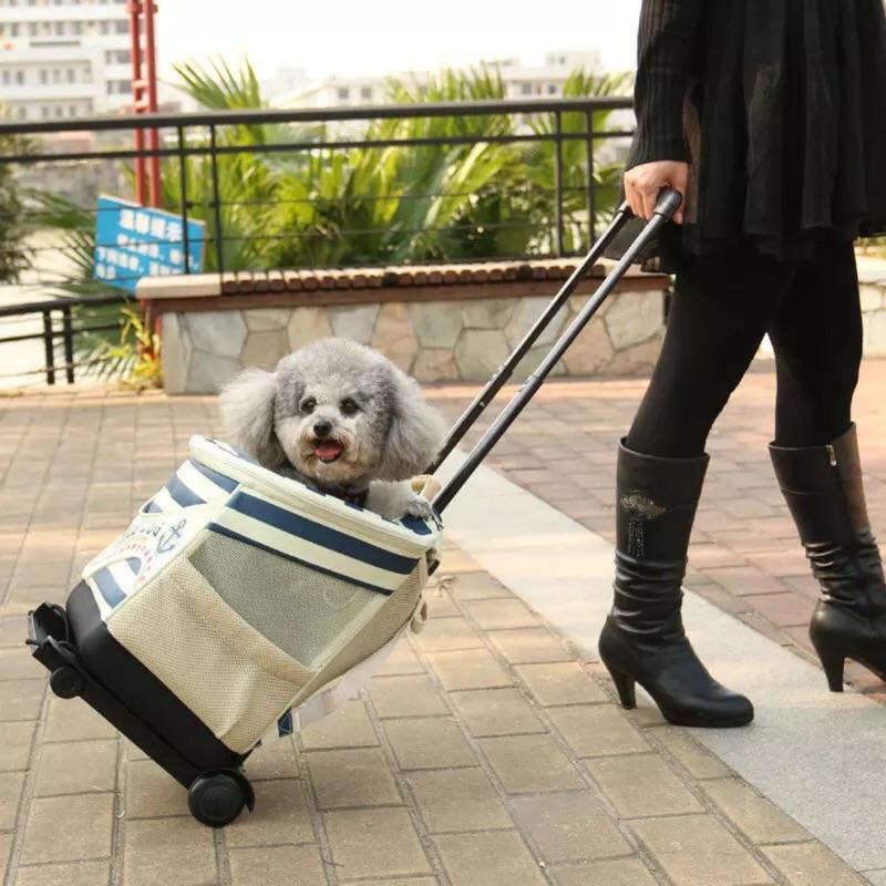 火火一族 高海軍風寵物背包拉桿包雙肩背包後背包透氣舒適狗狗拉桿包小型犬