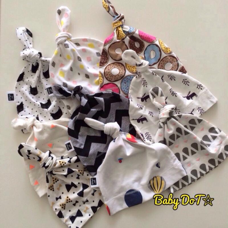 款✨純棉嬰兒帽新生兒帽純棉帽北歐貓咪熱氣球甜甜圈蝴蝶結點點綁角帽胎帽寶寶帽INS