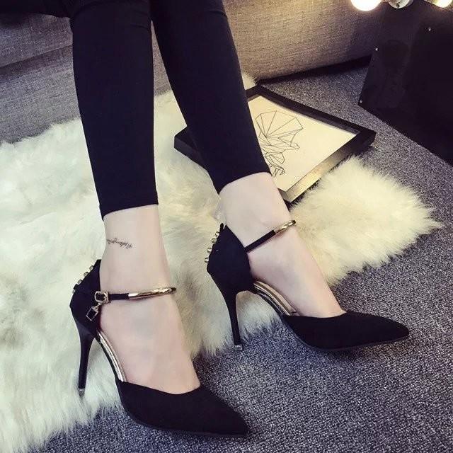 一字扣帶涼鞋尖頭細跟性感高跟鞋 中跟包頭淺口女鞋子