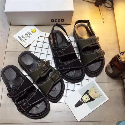 韓鈕 學院風簡約複古港風涼鞋女夏平底韓國學生百搭沙灘鞋女拖鞋海邊松糕底女鞋子