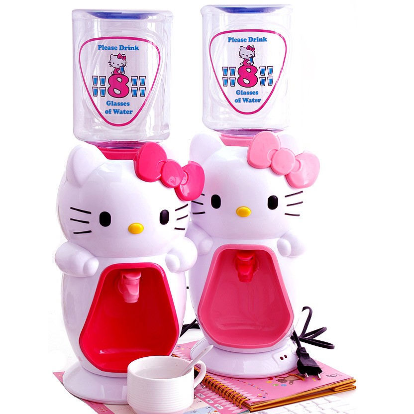 Hello Kitty 凱蒂貓桌面迷妳飲水機2L 卡通粉色超萌8 杯水可加熱