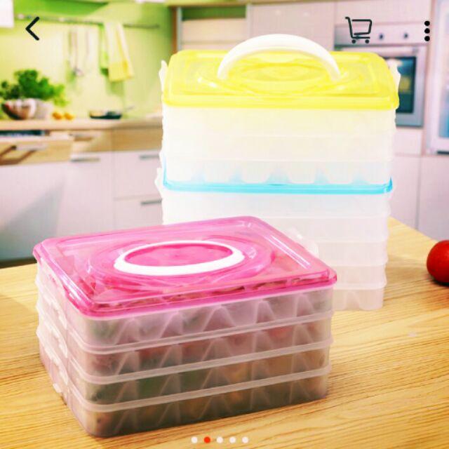 手提四層水餃保鮮冰箱收納盒