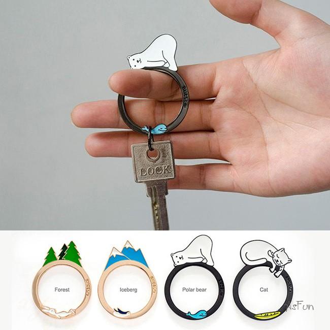 ~AsFun ~ !合金鑰匙圈卡通吊飾北極熊貓咪冰山森林鑰匙扣吊飾動物療癒  英雄聯盟