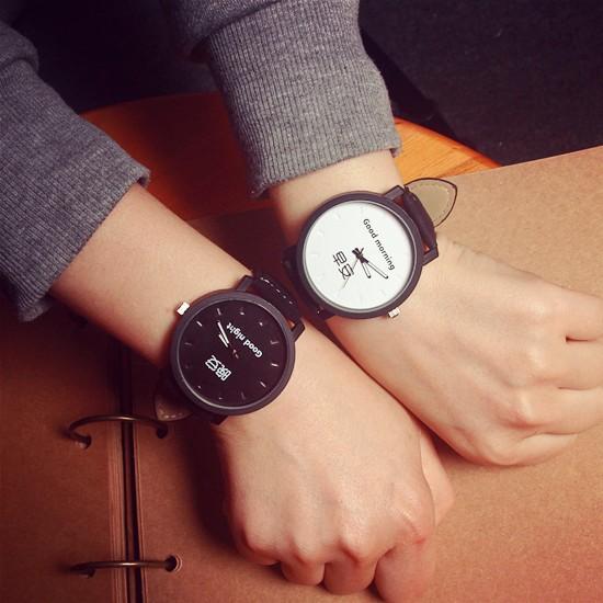 潮人 早安晚安情侶手錶一對簡約 潮流男女學生皮帶手錶