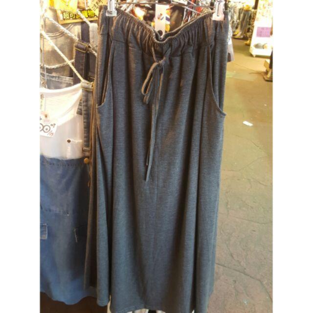 灰色長裙素色口袋棉裙鬆緊綁帶