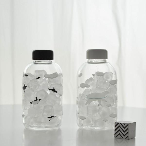 極地世界可愛便攜玻璃杯子企鵝北極熊白熊 情侶隨行水杯耐熱加厚學生隨手杯贈杯刷水瓶袋