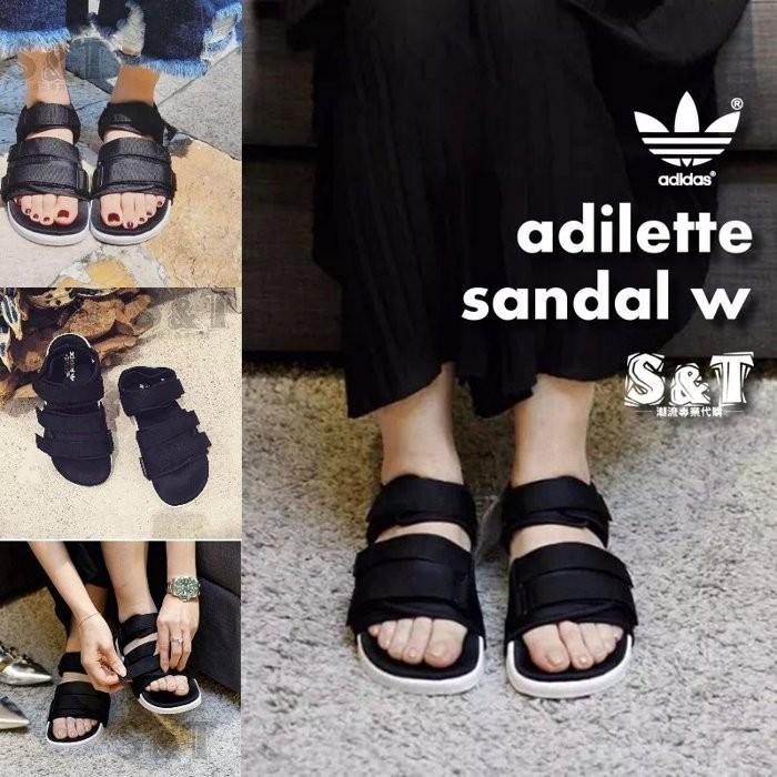 Adidas adilette sandal w 全 男女沙灘涼鞋潮流魔鬼氈 黑白