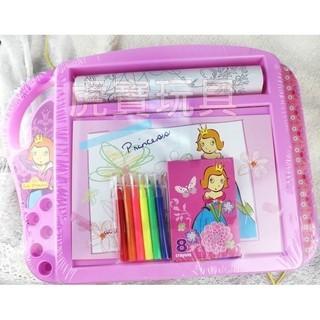 ~給愛畫畫塗鴉的寶貝~可愛公主畫板粉色公主夢填色益智附畫紙畫板蠟筆多 畫版