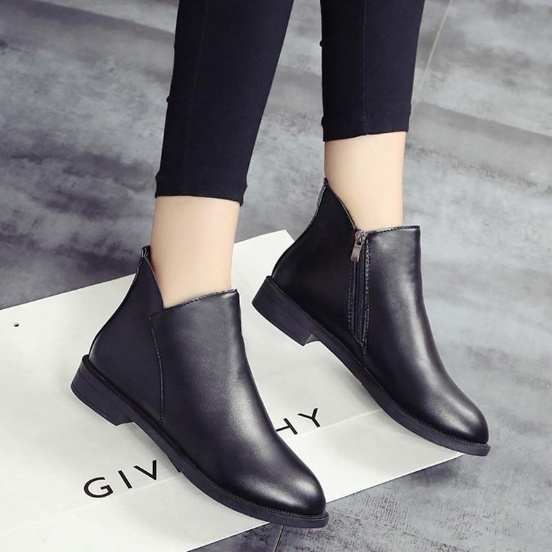 女鞋 有 2016  英倫風馬丁靴女短筒單靴平底短靴百搭裸靴學生女靴子