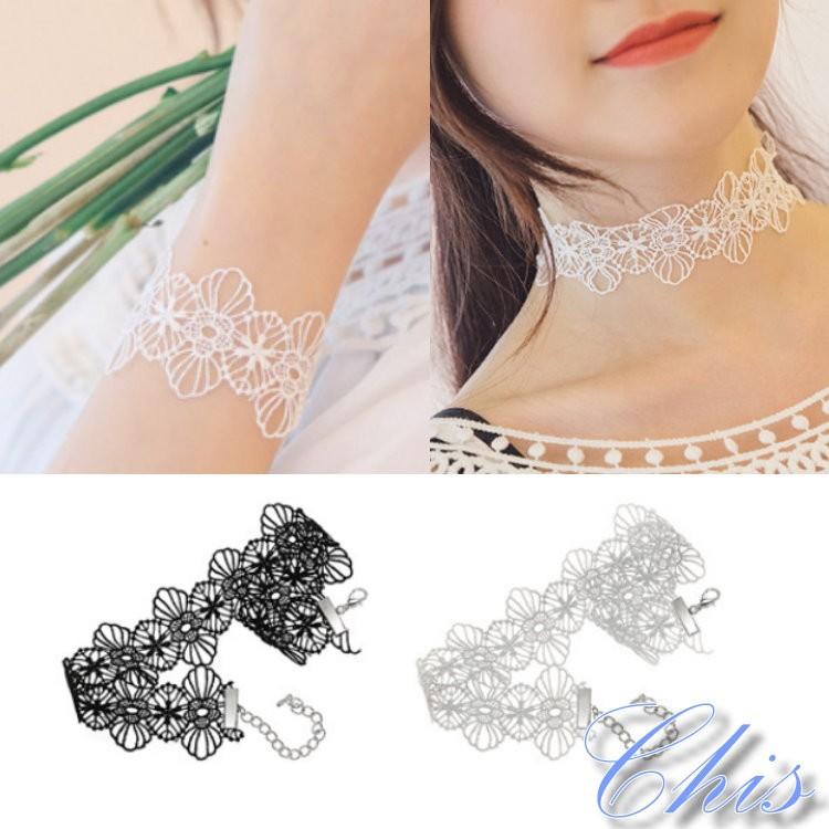 Chis Store ~大花蕾絲寬頸鍊手鍊兩件一組~韓國優雅勾針編織針織花朵 寬版頸圈短項
