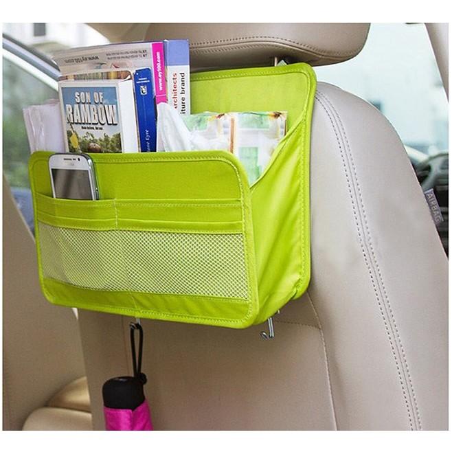 w n 汽車用雜物收納袋後座置物袋附掛鉤可放手機書衛生紙掛雨傘