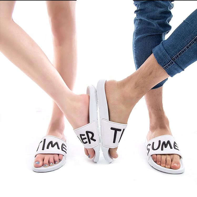 不用等SUMMERTIME 韓國 情侶拖鞋男女英文百搭休閒一字拖男鞋涼鞋潮鞋兩雙僅220
