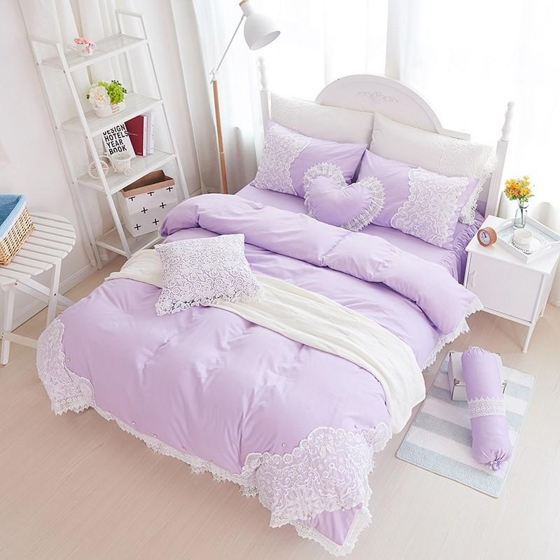 雙人床罩公主風床罩初戀感覺紫色蕾絲床罩結婚床罩床裙組荷葉邊床罩佛你企業