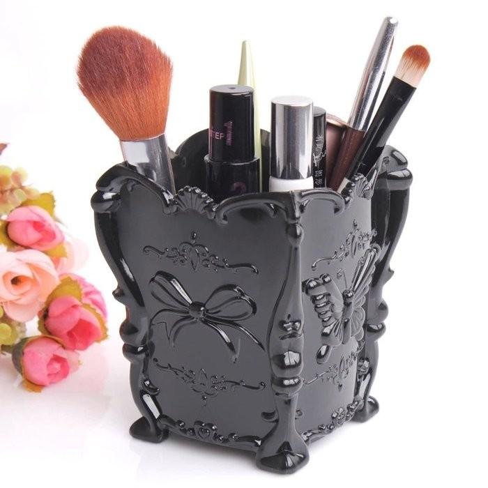 Laipi 小物~Anisui 風格蝴蝶薔薇花化妝品收納盒化妝用品收納棉花球收纳盒黑色 不
