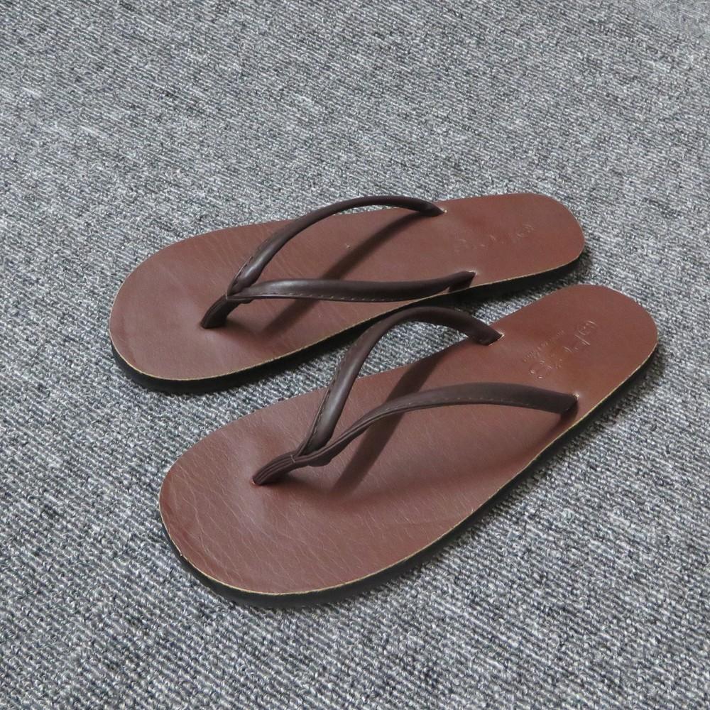 素面皮質舒適防滑夾腳平底拖鞋咖黑兩色