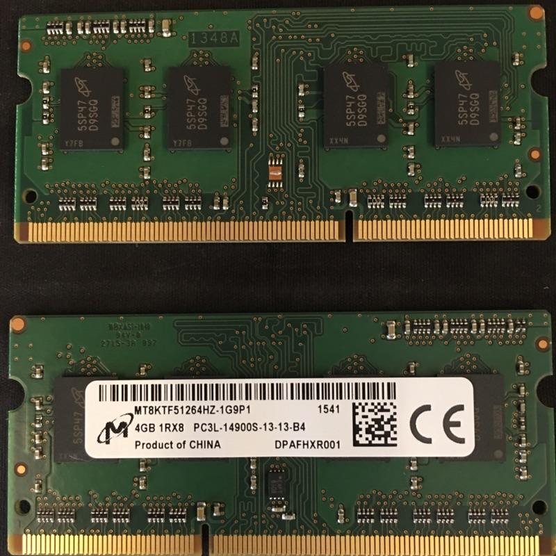 美光 DDR3L 4GB 1866MHz 筆電 記憶體