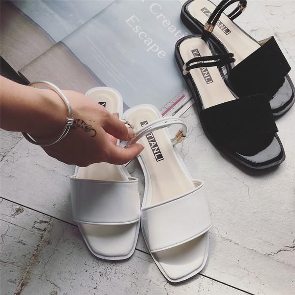 兩穿 款夏天 低跟平底涼鞋拖鞋
