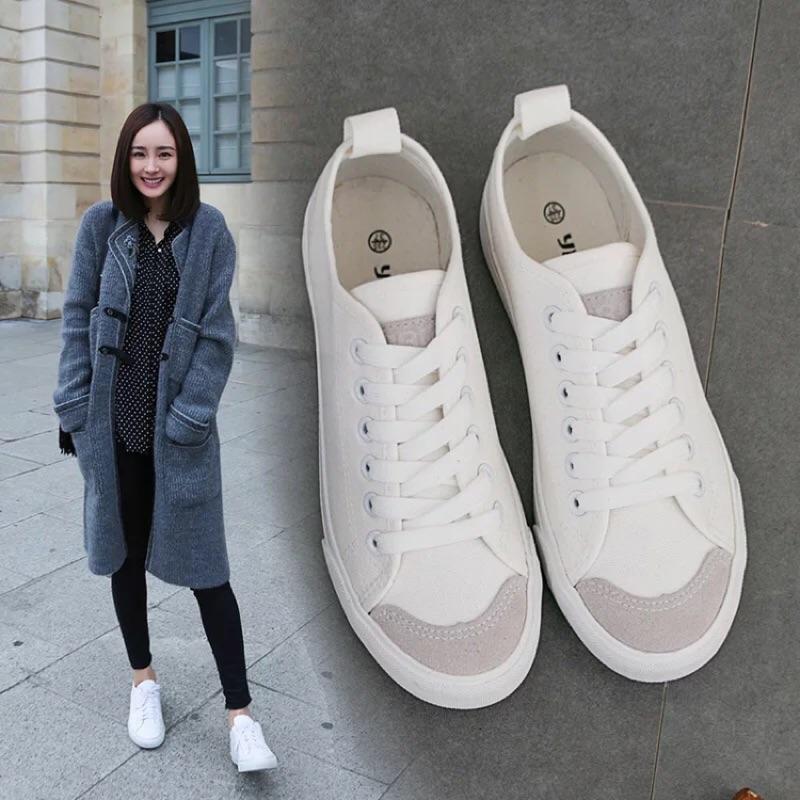 明星同款夏 小白鞋女平底帆布鞋系帶 白色布鞋學生百搭板鞋