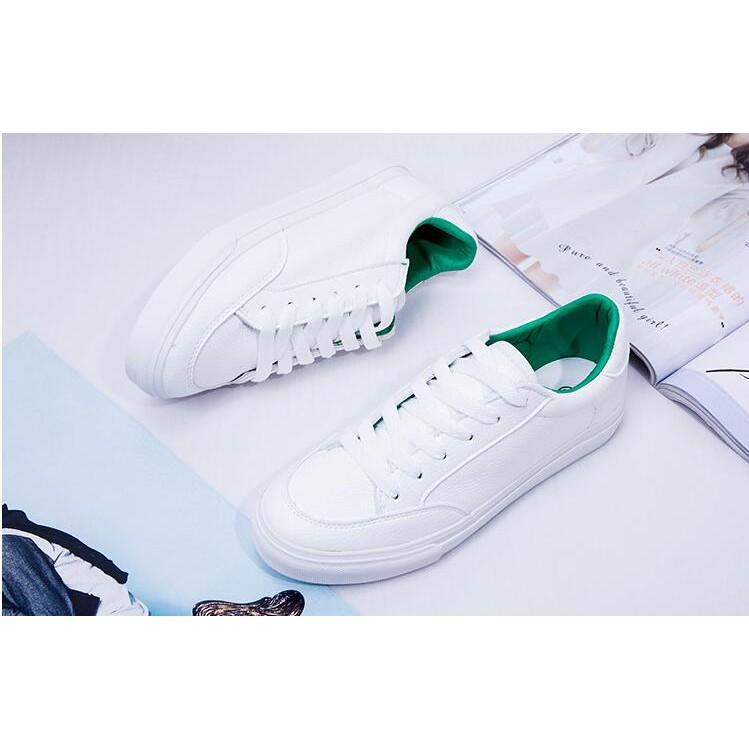 百搭小白鞋超纖皮系帶透氣休閒 鞋女情侶板鞋學生女鞋