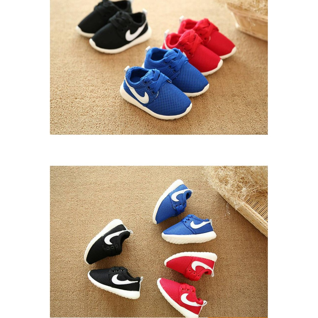 軟底學步男女童鞋 鞋繫帶網布紅色藍色黑色球鞋