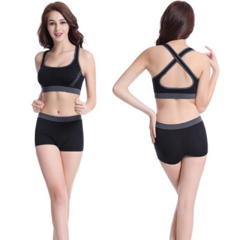 ✨酸檸檬 交叉背心式 內衣無鋼圈無痕防震一體胸罩背心瑜珈跑步✨