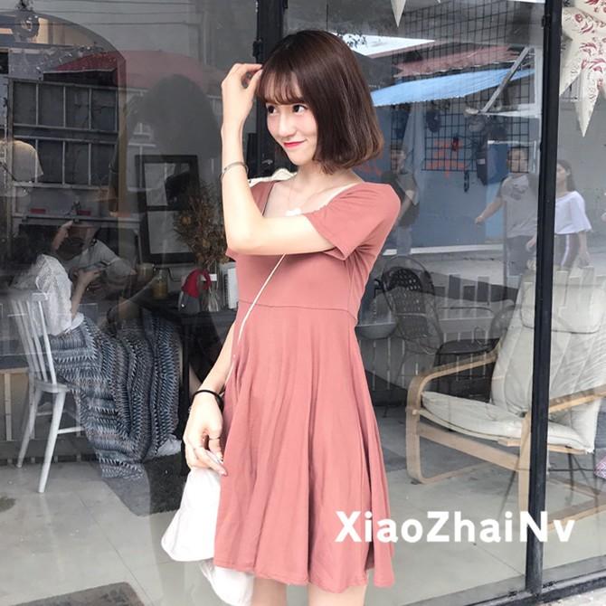 ~ ~實拍氣質簡約純色圓領修身短袖短款裙子高腰連衣裙間單洋裝女生衣著