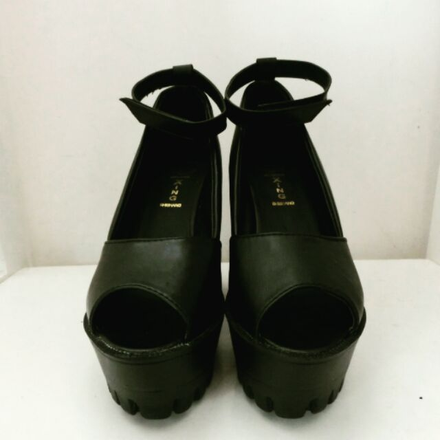高跟鞋魚嘴鞋魚口鞋黑色扣帶厚底粗跟涼鞋