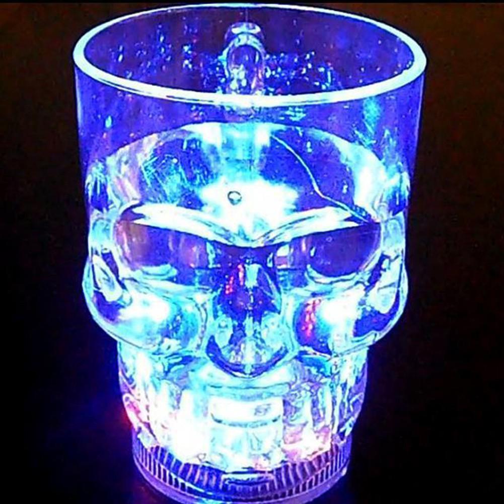 發光水杯骷髏頭啤酒杯感應萬聖節發光杯