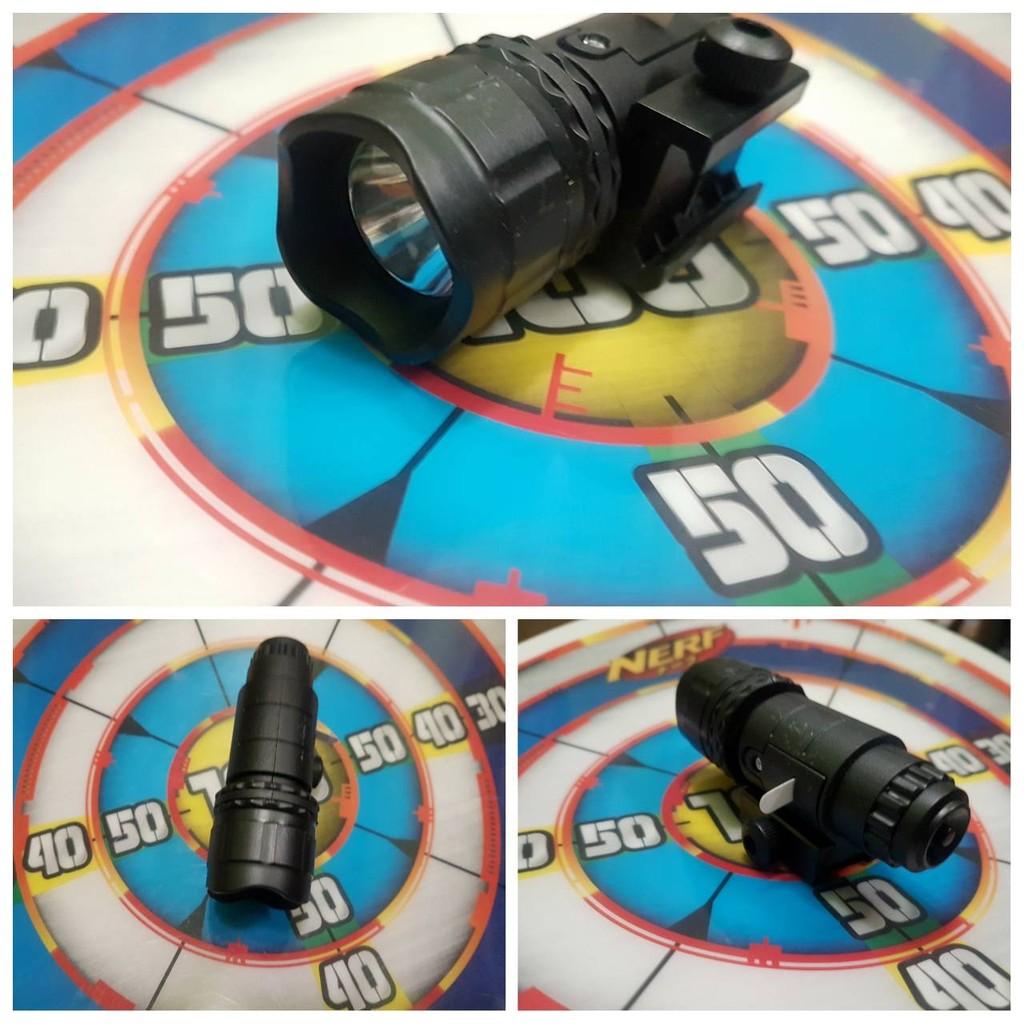 BIGLP 非NERF  超白光戰術手電筒有附2 0 魚骨夾夾於軌道黑色全塑膠裸裝品