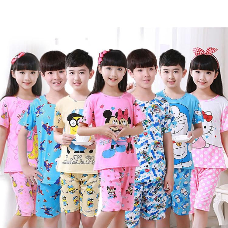 兒童短袖睡衣牛奶絲薄款卡通可愛清新男女兒童家居服套裝