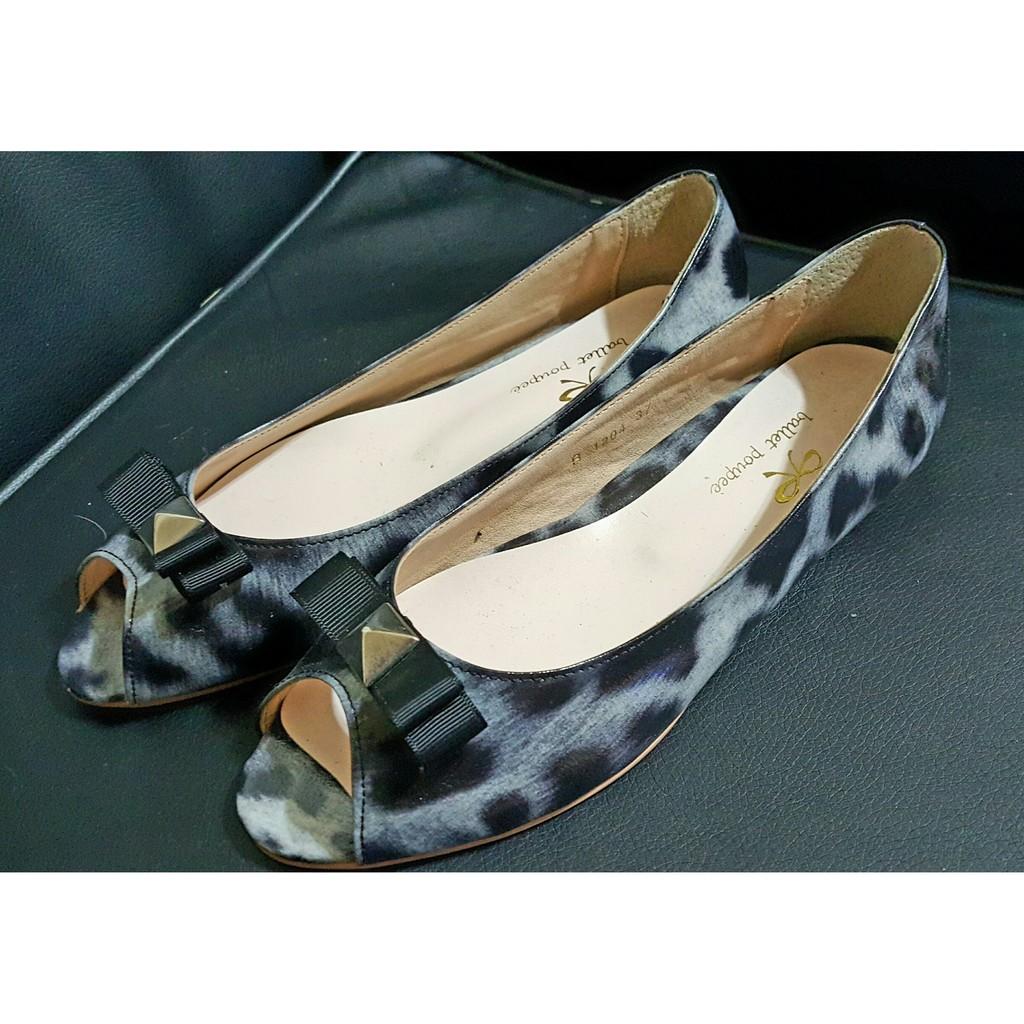 ~一折 ~韓國專櫃ballet poupee 豹紋亮皮漆皮露趾魚口娃娃平底鞋