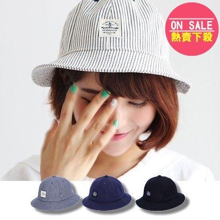 正韓條紋漁夫帽遮陽帽丹寧帆布 漁夫帽盆帽子NYC 可搭平光眼鏡~RC305 ~