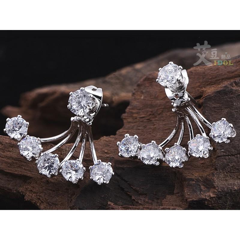 ◆艾豆◆B638 ~2 用款水鑽扇形耳環~鈦鋼防過敏韓國鋯石少女時代任意依戀秀智耳骨釘耳釘