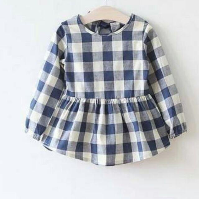 130 女童格紋上衣洋裝