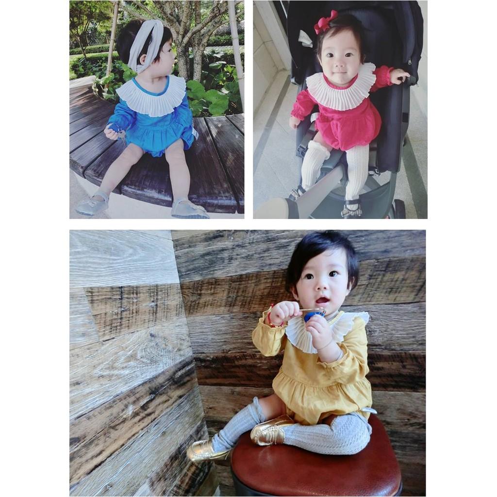 秋裝嬰兒純色棉麻花邊荷葉邊長袖連體衣哈衣爬服女童寶寶baby