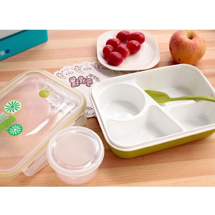 ~三格加湯碗~可微波爐餐盒日式可愛小學生分格塑料餐盒飯盒 兒童卡通便當盒