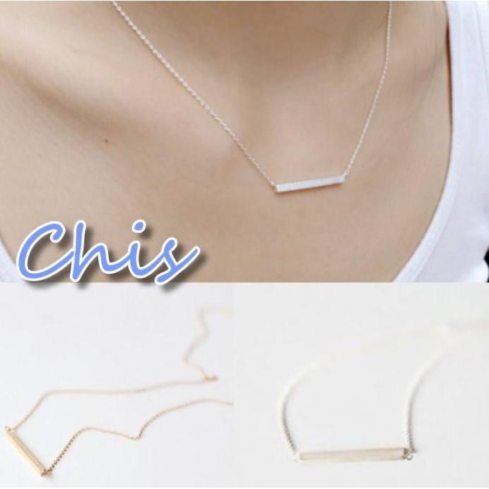 Chis Store ~簡約一字項鍊~韓國極簡風一字橫槓銅棒短項鍊鎖骨鍊項鏈短款短版項鍊情
