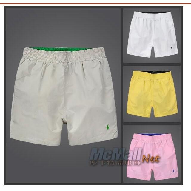 Ralph Lauren Polo 男款淨色雙層網中褲沙灘褲小馬標LOGO 休閒短褲海灘褲