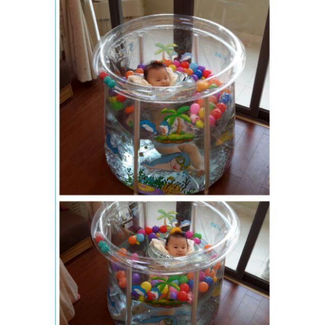 嬰幼兒童支架游泳池加厚保充氣游泳池嬰兒游泳桶省水可折叠~漾媽咪嬰幼兒用品~透明泳池頸圈游泳