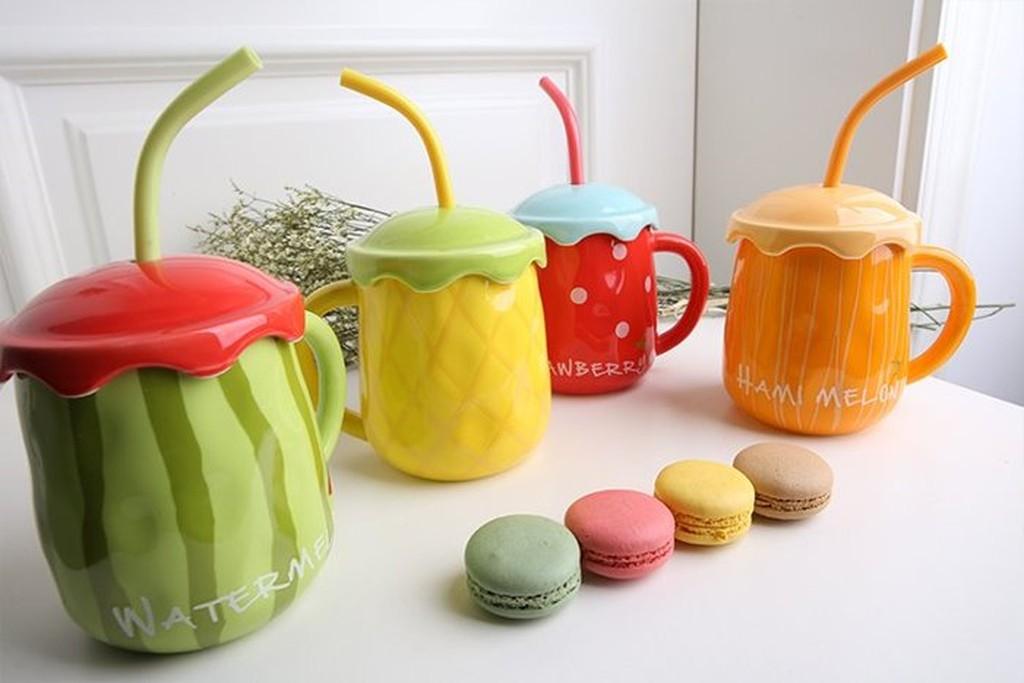 ◕‿◕。巴黎香戀❤水果杯子 帶蓋勺西瓜杯可愛兒童馬克杯陶瓷情侶咖啡杯水杯
