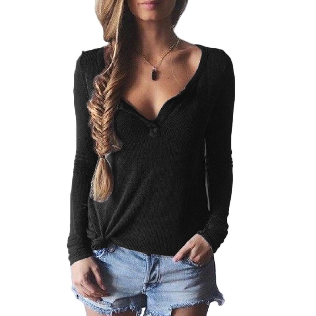 女士薄針織毛衣深V 領毛衣襯衫