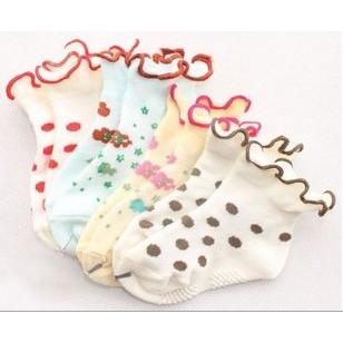 捲邊襪寶寶花邊襪鬆口點膠防滑襪