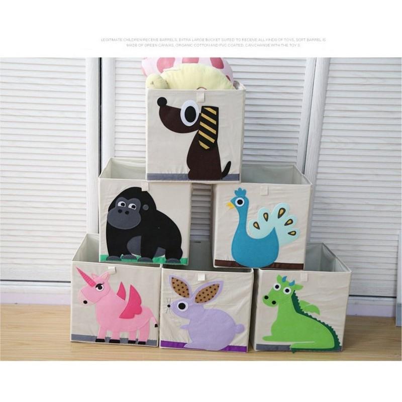 W ~A00S1 超Q 可愛動物摺疊方形收納箱33x33cm ~玩具兒童超愛百搭可折疊收納