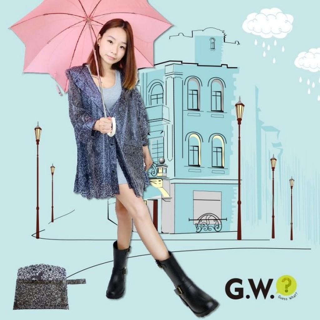 GW ~蕾絲雕花雨衣~森林系公主風女孩兒透膚透明風衣連帽外套雨天踏青逛街超 有口袋附收納袋