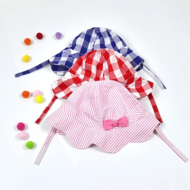 女童女寶兒童嬰兒花朵邊魔鬼氈帶子條紋格子格紋遮陽帽帽子