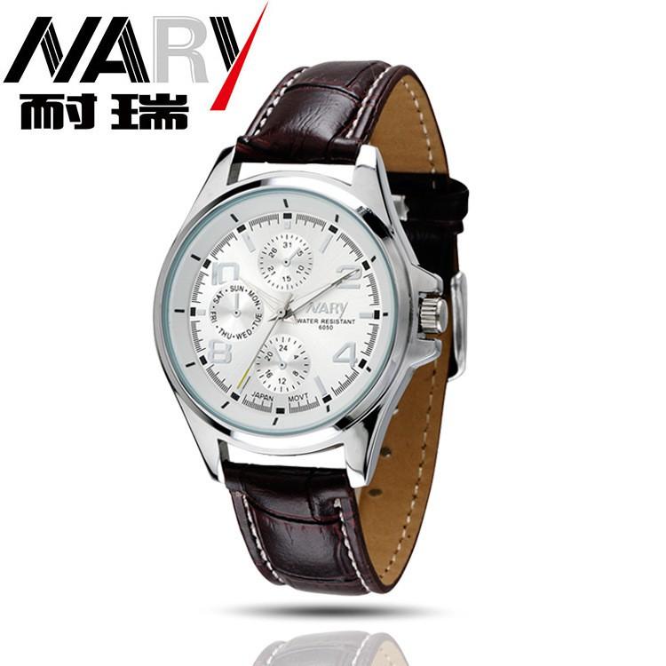 ~NARY 手錶~淘寶貨源正品耐瑞男士手錶淘寶貨源6050PU 皮帶手錶