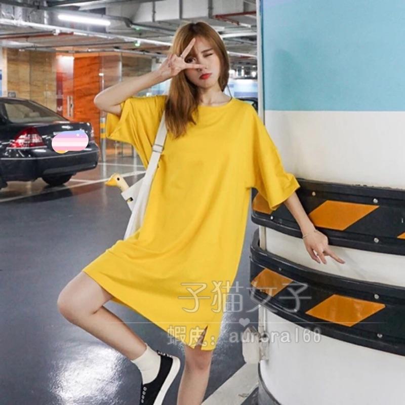 超美3色 款超寬鬆素面洋裝大碼素面T 恤長版T 恤素面T 恤連身裙短袖洋裝大 洋裝開衩簡約
